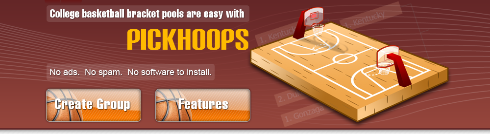 College basketball bracket pools are easy with PickHoops.  No ads, no spam, no software to install.
